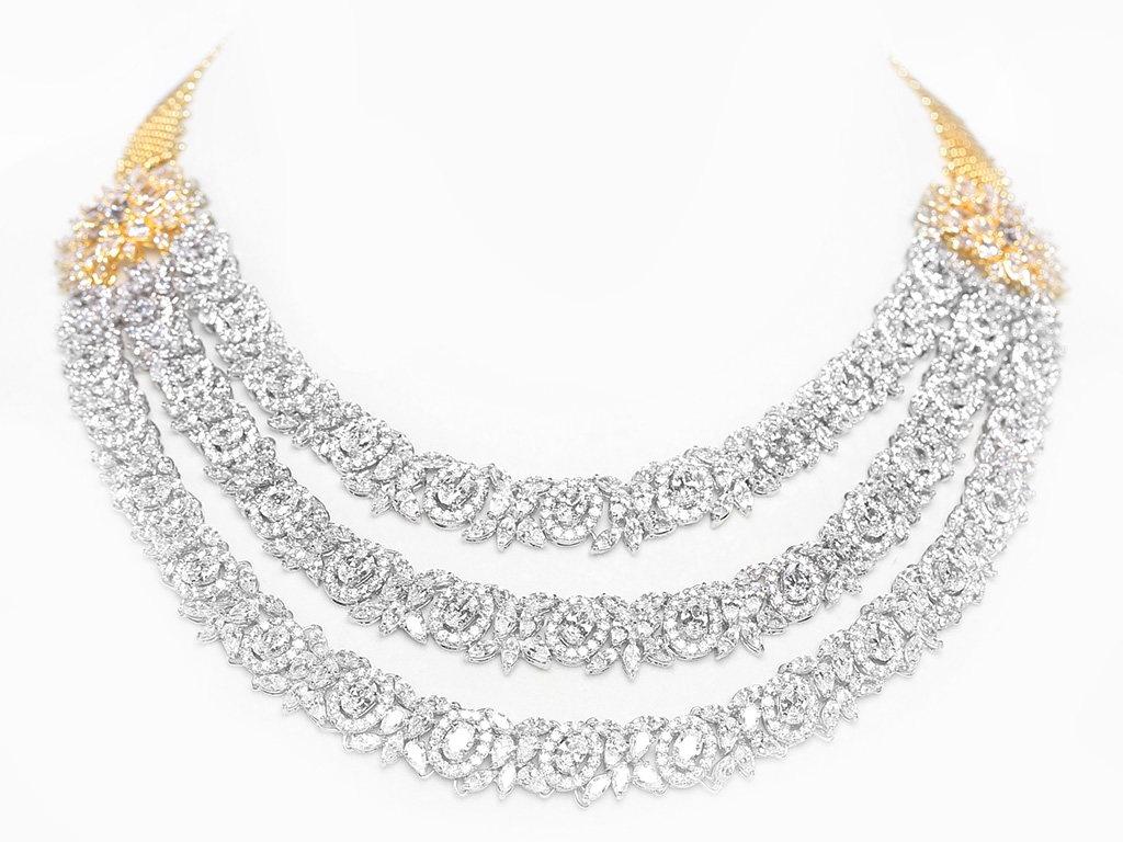 Three Layer Bridal Necklace With Round And Fancy Shaped Swarovski Zirconia Like Oval, Pear And Marquise. PC- Swarovski Gemstones.