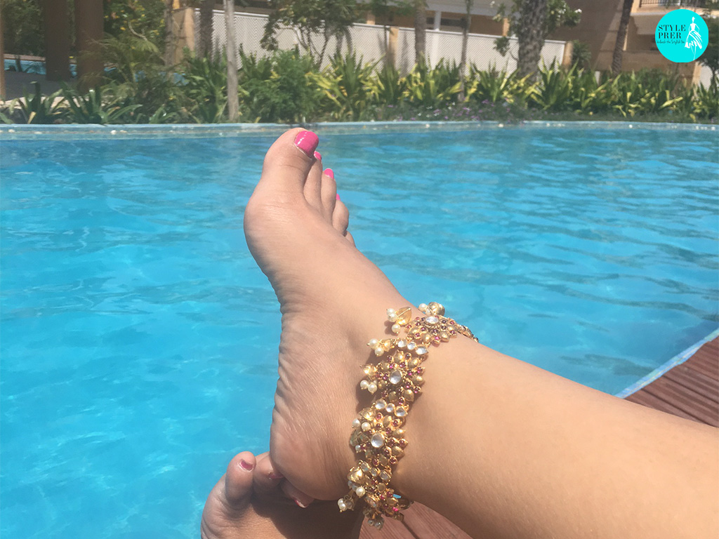 Gold Plated Silver Anklet With Red Floral Motif And Pearl Droplets