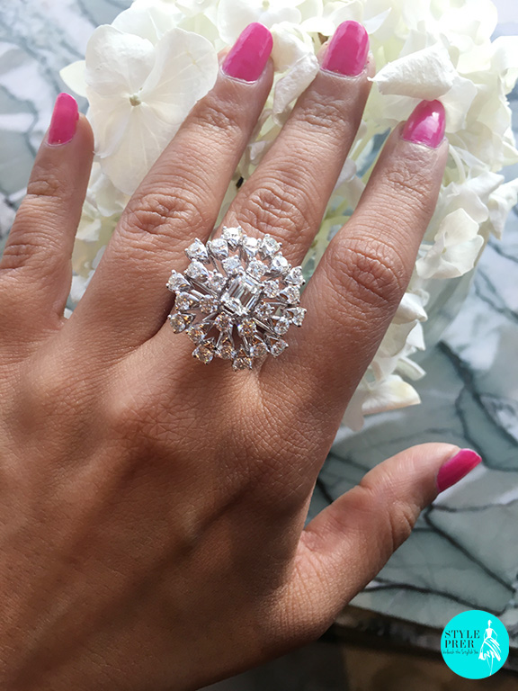 """""""Aster Glow"""" Ring studded with Forevermark Diamonds is designed by Mahabir Danwar Jewellers and is inspired by the Aster flower center with a radiant shaped diamond surrounded with round diamonds"""