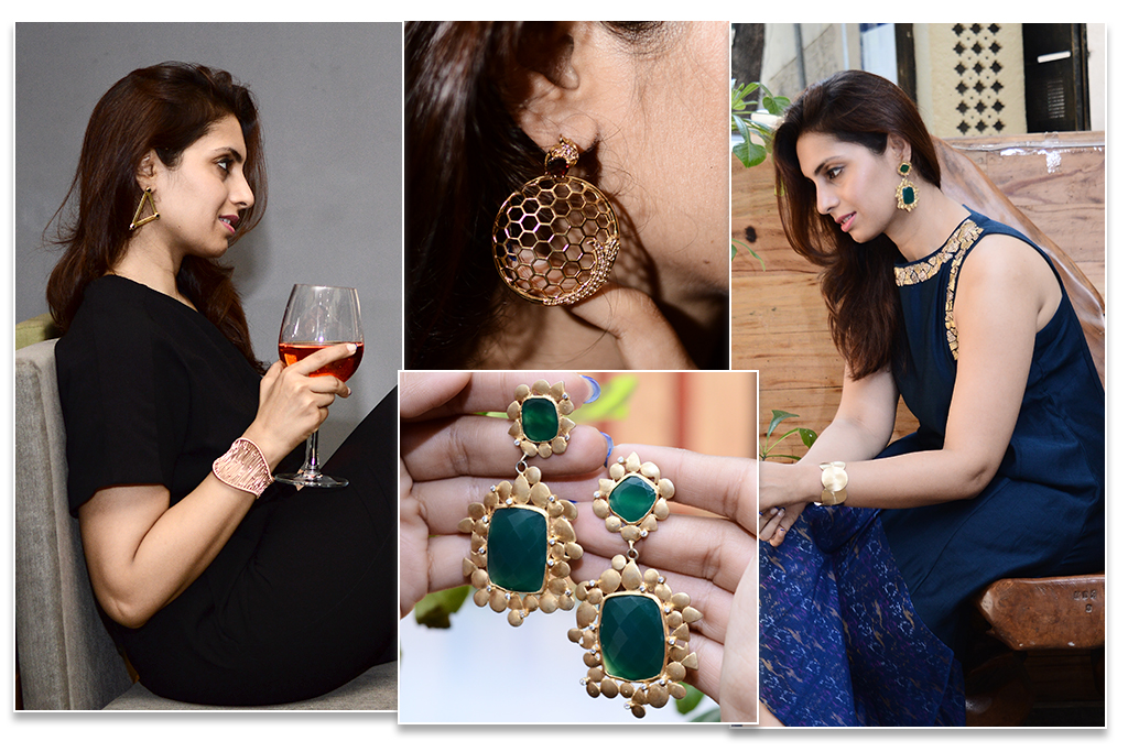 Textured Gold Plated Silver Jewelry With Blue Ikat Print For An Ethnic Look And Another Look On A Black Jump Suit. Blue Ikat Dress - Sumaiya Merchant