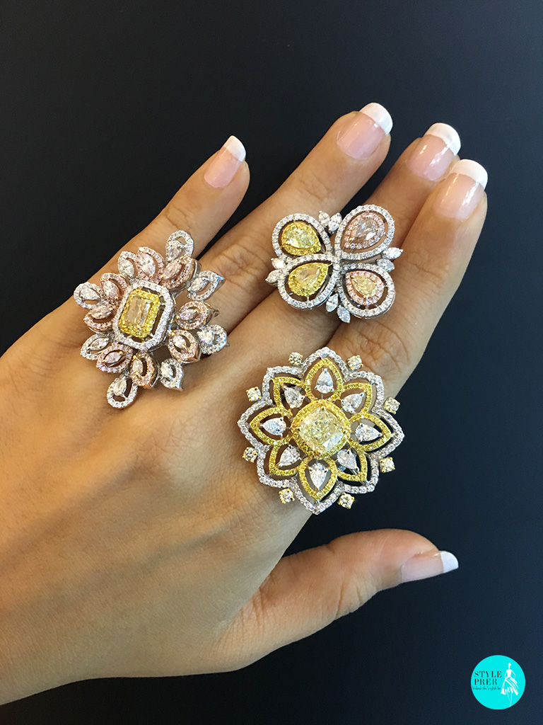 Colored Diamonds And Fancy Shaped Diamond Cocktail Rings From Anant Thai