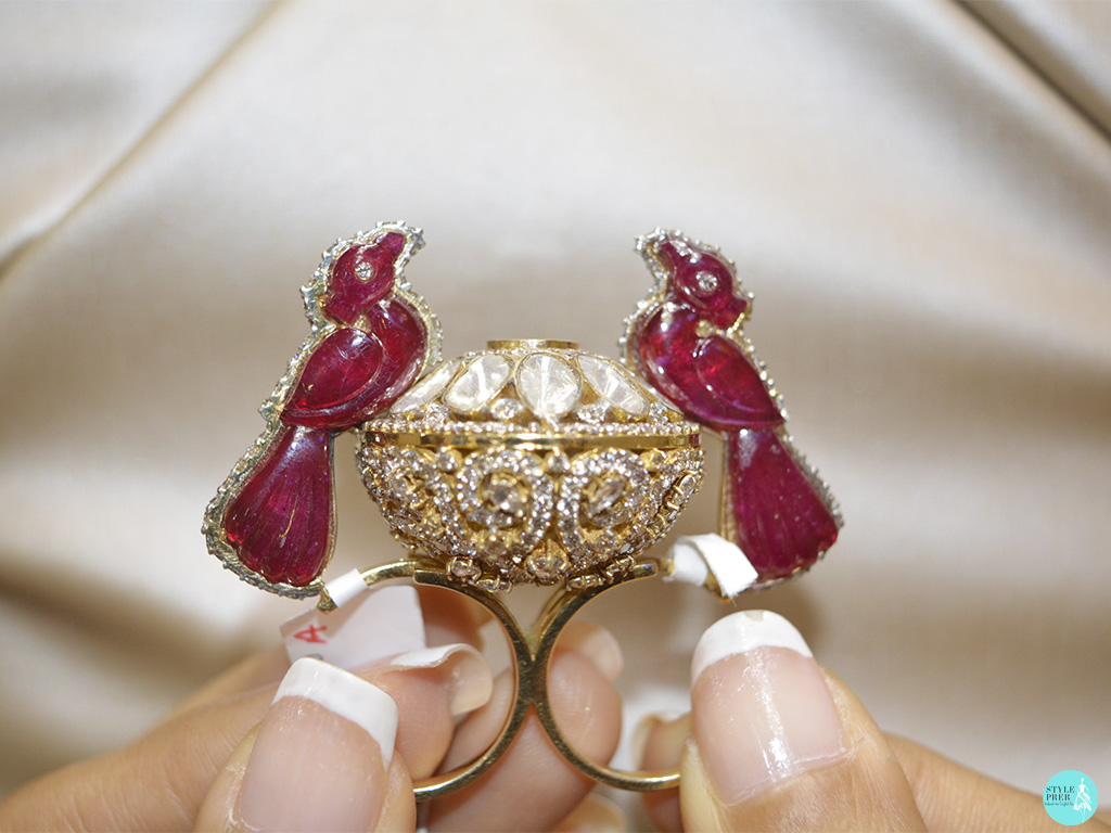 Ruby Birds And Polki Two-Finger Ring By Anmol Jewellers