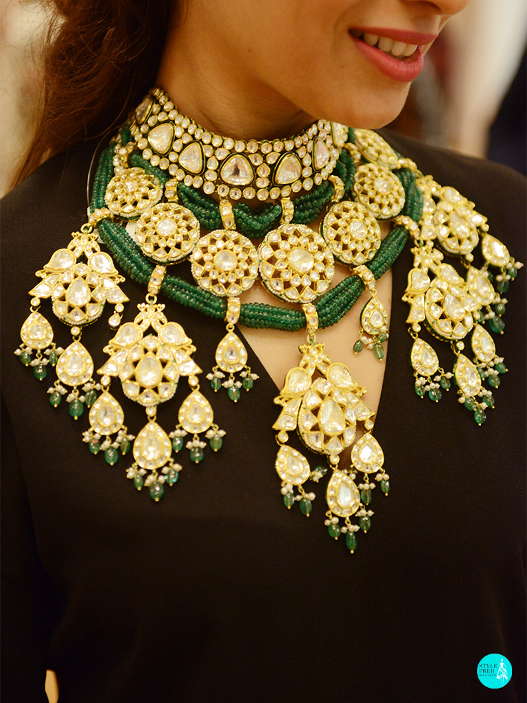 Polki Jadav Necklace With Emeralds By Khanna Jewellers