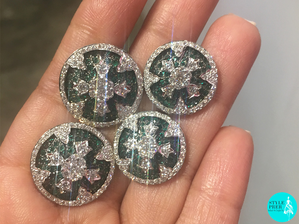 Set Of Seven Big And Six Small Diamond And Emerald Mens Kurta / Sherwani Buttons Glitter As I Shoot Them On An Iphone
