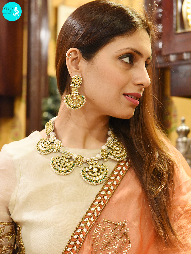 Polki Necklace Set With Emeralds By Gem Palace Worn With A Lehenga, Armuse By Ayushi