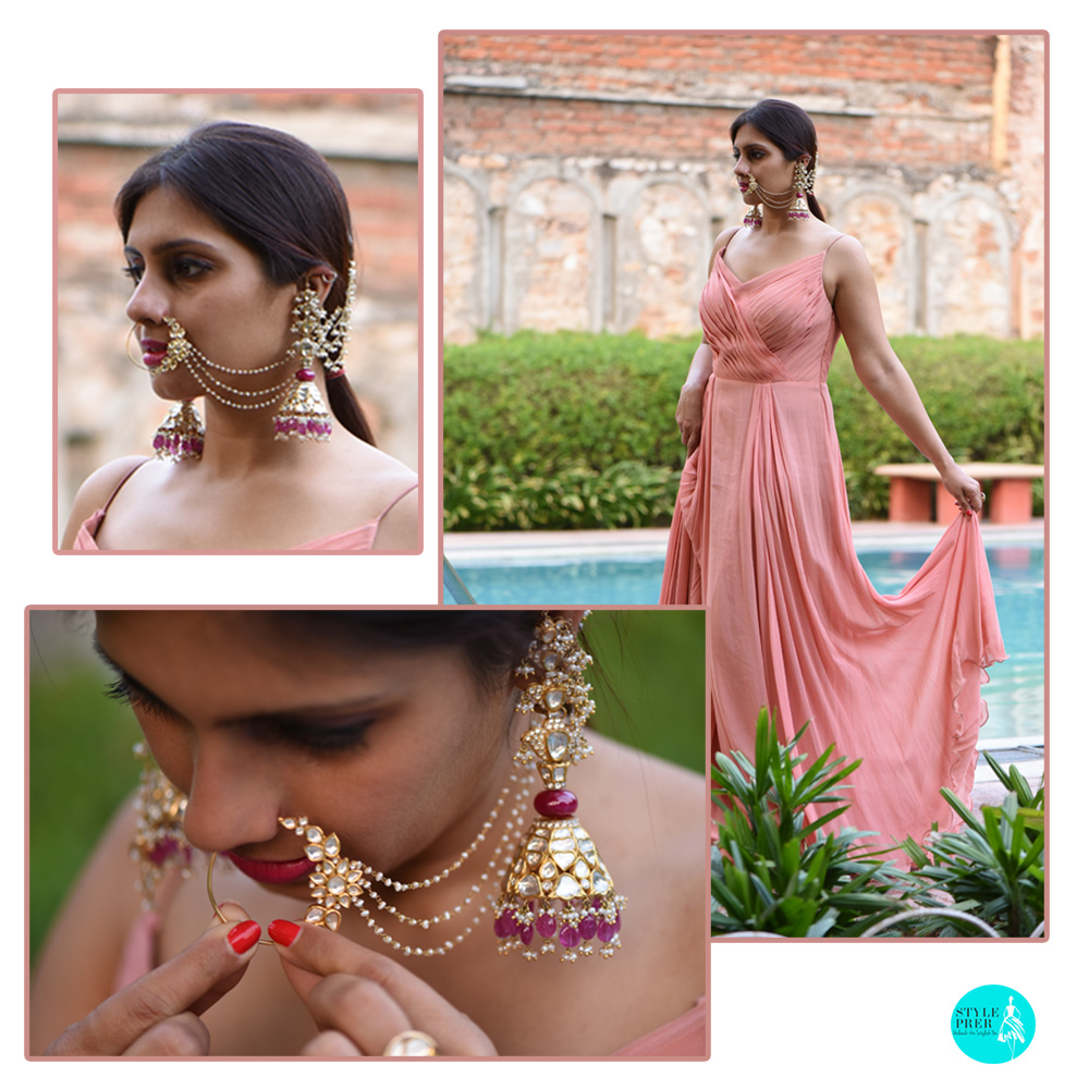 Cocktail Wear - Armuse By Ayushi Combined With Polki Jhumkas And Nath By Birdhichand Ghanshyamdas Jewellers
