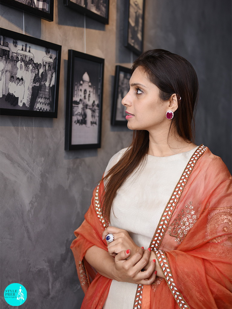In Gyan Museum Wearing Burmese Ruby Diamond Earring And Star Blue Sapphire Ring