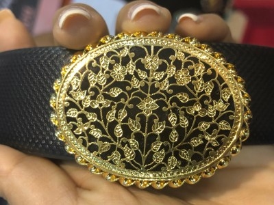 Traditional Thewa Art Work On A Mens Belt Buckle