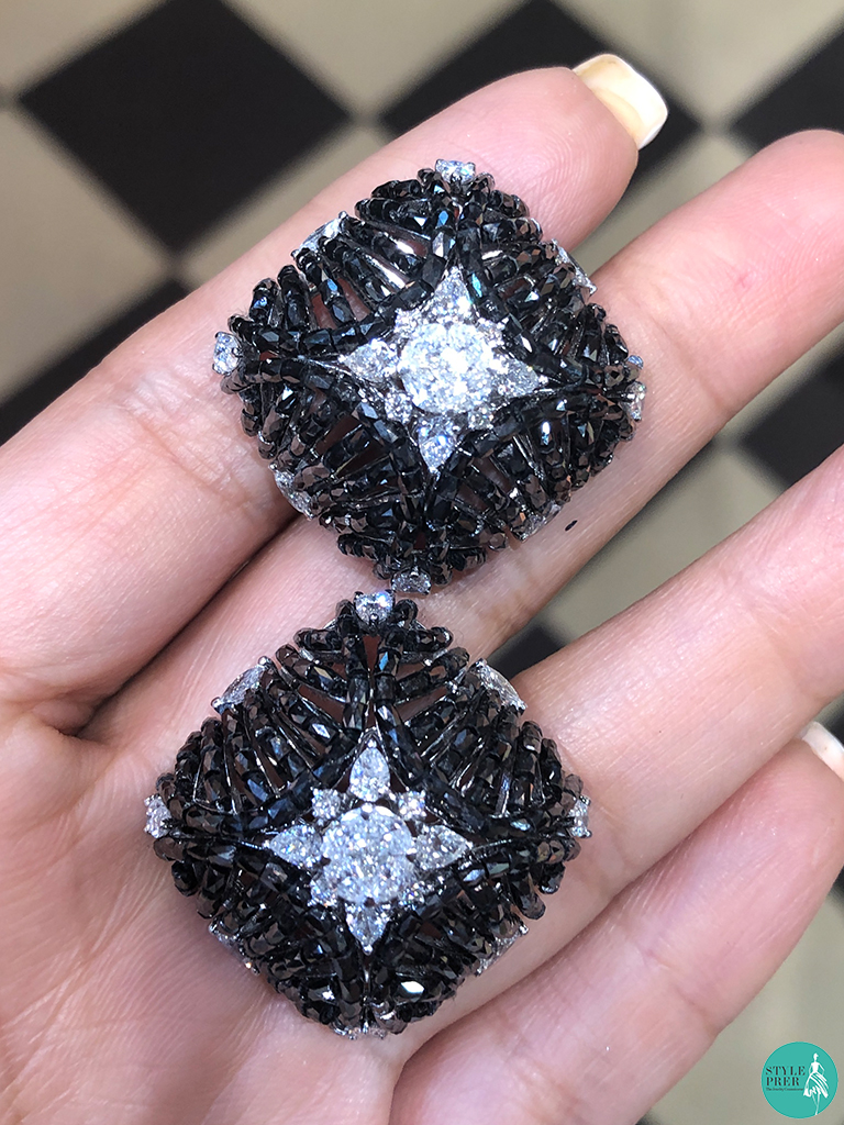 Black And White Diamond Earrings By Sanskriti Jewels