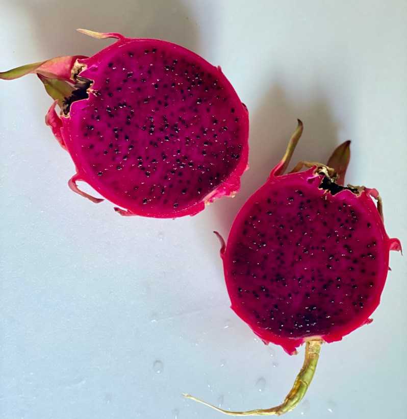 Dragon fruit with dark pink flesh