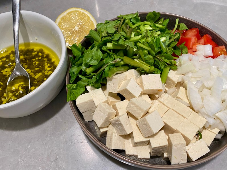 Lemon Caper Tofu Watercress Salad ingredient overhead picture