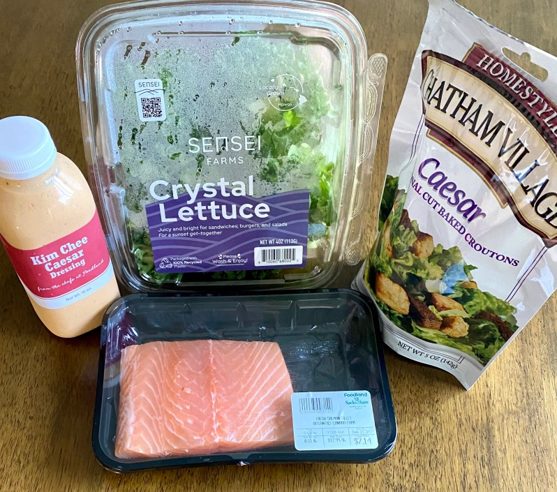 ingredients for air fryer salmon and kimchee caesar salad