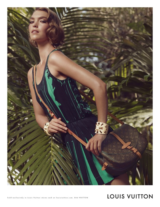 Louis Vuitton Cruise 2012 Ad Campaign Featuring Arizona Muse Monogram Perforated Saumur bag