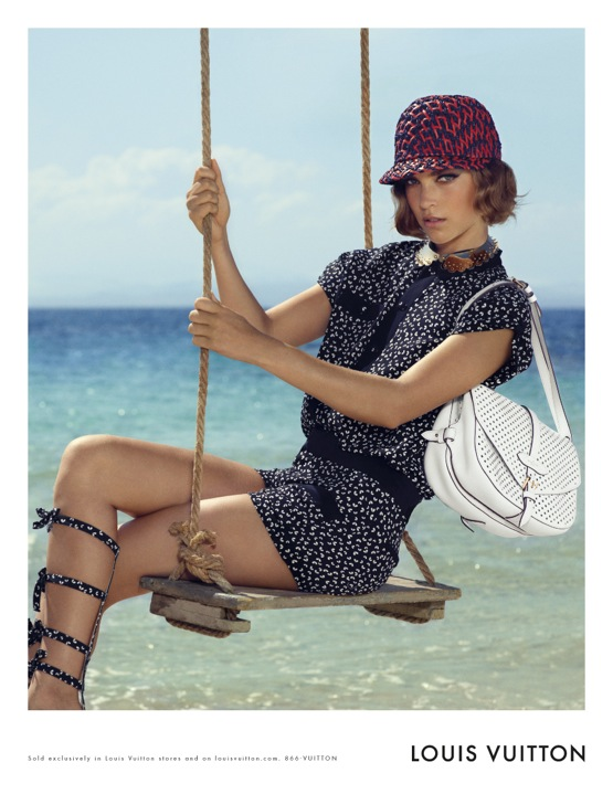 Louis Vuitton Cruise 2012 Ad Campaign Arizona Muse White Saumur bag