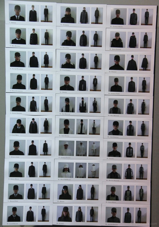 Dior Homme Fall Winter 2012 Collection Backstage Model Board