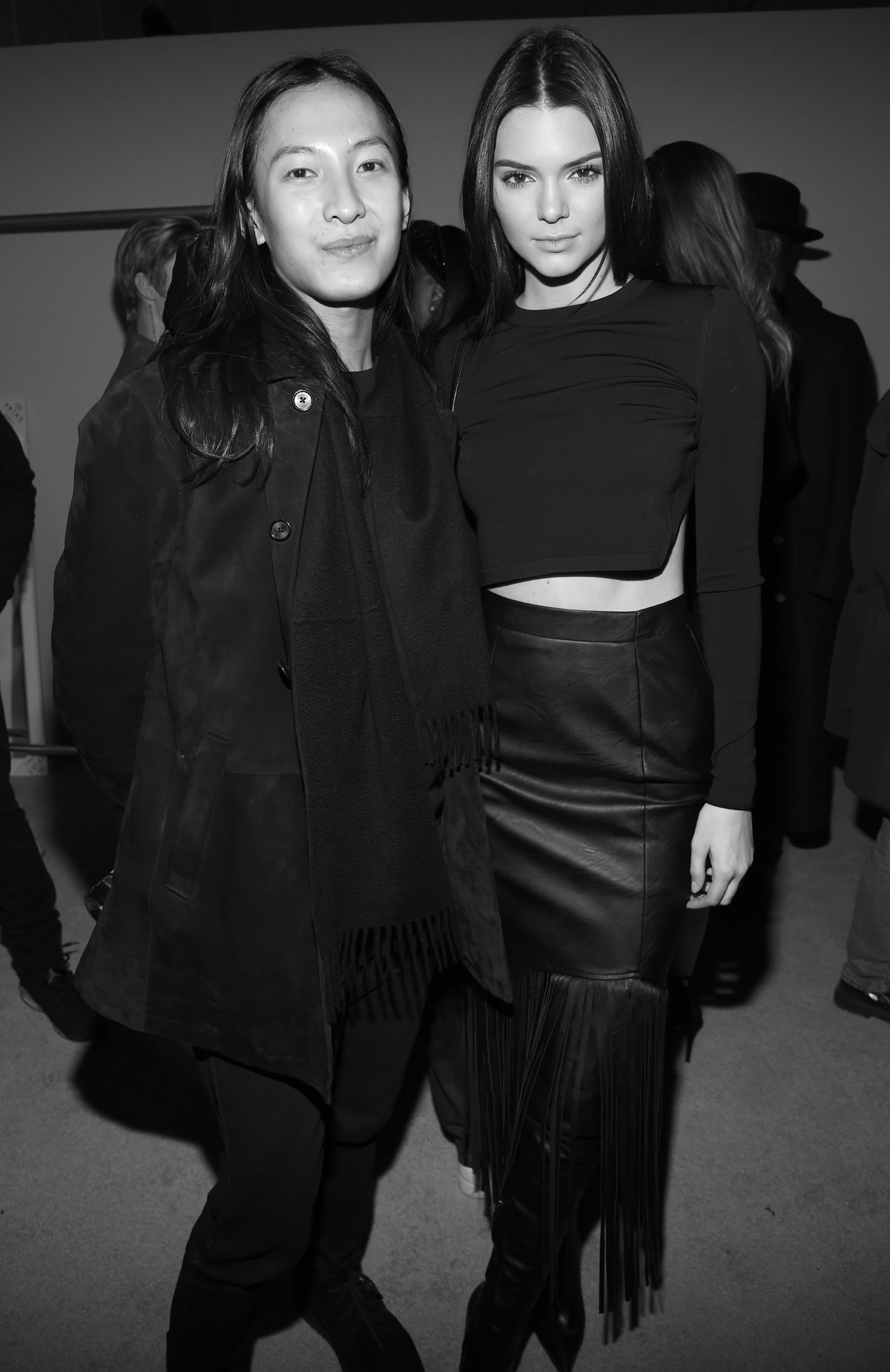Alexander Wang and Kendall Jenner pose backstage at the adidas Originals x Kanye West YEEZY SEASON 1 fashion show