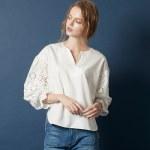 コットンレースボリュームスリーブブラウス。大人女子のプチプラキレイめファッションtitivate(ティティベイト)2017秋冬のトレンドアイテム