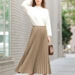 40代女性に人気の安いけど高見えの大人レディースファッション通販。春夏の着回しコーデ2019【丈が選べるジョーゼットプリーツスカート】