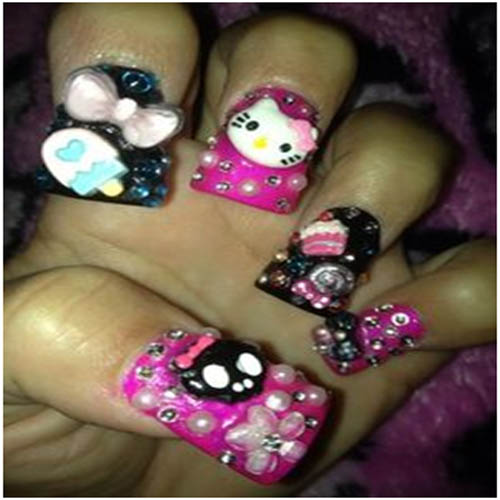 3d Nail Art Using O Kitty And Ice Cream Stick Decos