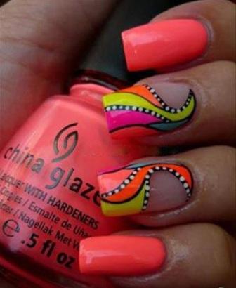 Abstract Neon Nail Art Design You
