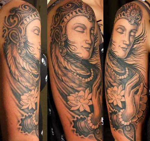 Black And White Sleeve Buddha Tattoos