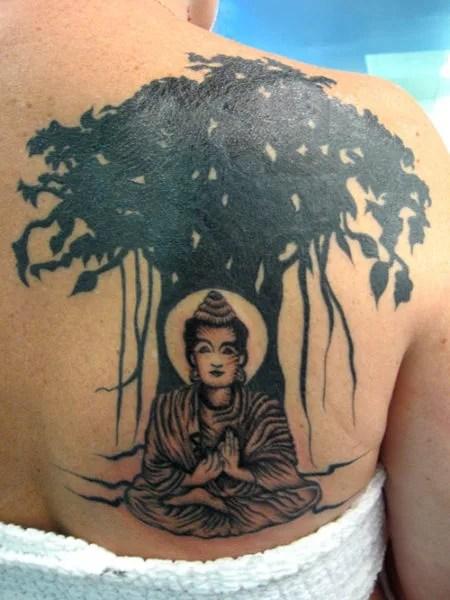 Bodhi Tree Buddha Tattoo Designs On Shoulder