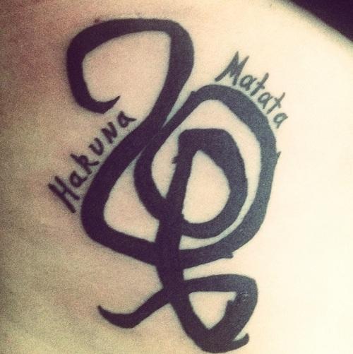 Hakuna Matata Symbol Tattoo For Men
