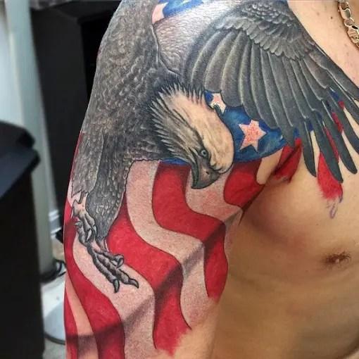 Fighting Eagle Sleeve Tattoo Design