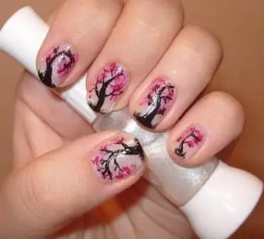 Cherry Blossom Tree Effect Nail Art