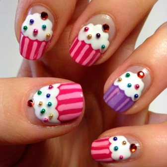 Use Your Nail Art Brush Some Caviar Be And Rhinestones To Create Cup Cake Nails These Are Very Easy You Will Need Dotting Tool Or A