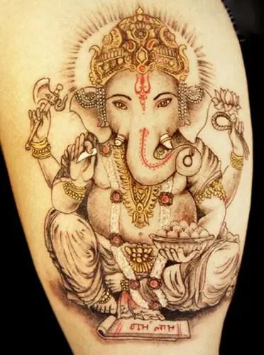 Golden Ganesh Tattoo Designs