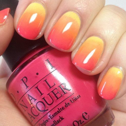 Sponge Effect Sunset Nail Arts By Using Metal Finish Paint This