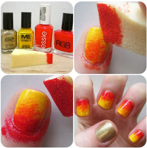 Simple Sponge Nail Design First