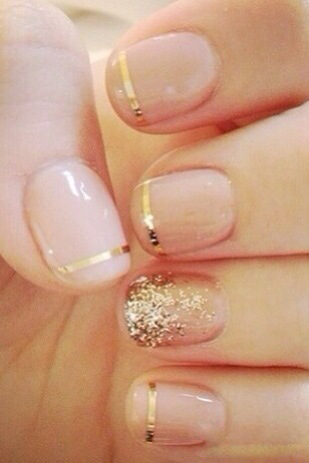 Gold Nail Art With Gloss Paint