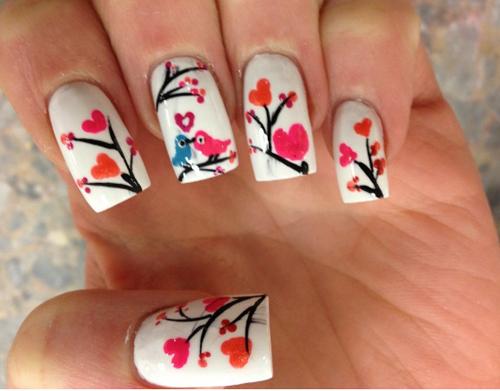 Love Birds Heart Nail Art You