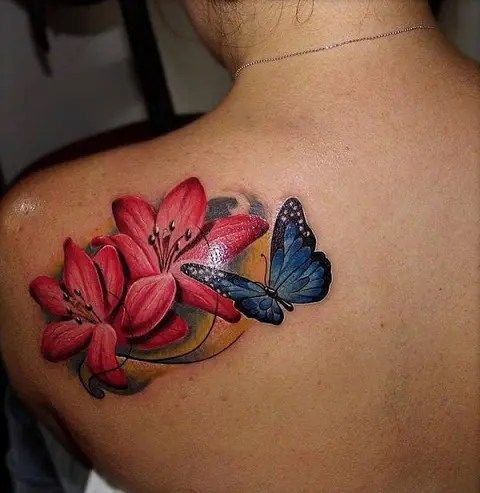 Butterfly Lily Tattoo On Back