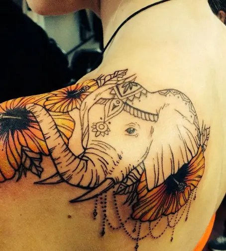 Amusing Elephant Tattoo Design