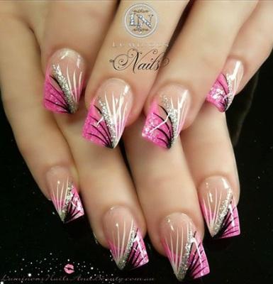 Glitter And Acrylic Nail Art Designs1