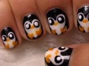 9 penguin nail art design