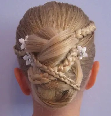 Micro Braid Updo Hairstyles for Flower Girl
