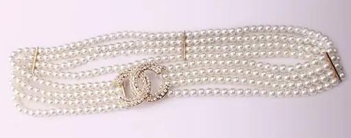 Waist Belt in Elastic Pearls