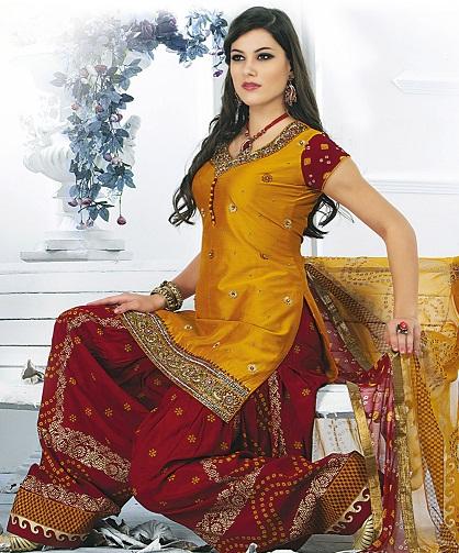 Indian Style Red and Mustard Bandhej Salwar Suit2