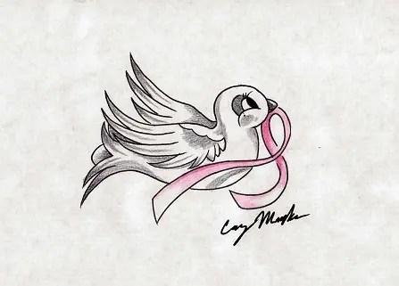 Optimistic Breast Cancer Tattoo Design