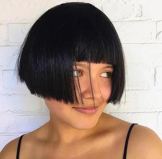 blunt cut bob black hair