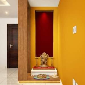 pooja yellow mandir puja corner wall paint indian niche designs interiors interior modern prayer rooms living door colors mustard temple