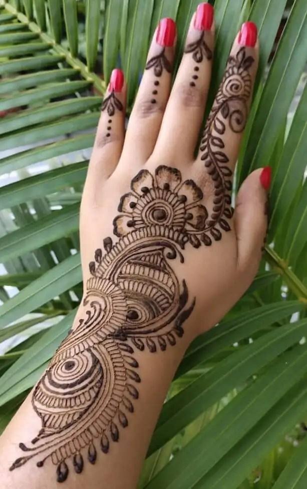 Latest Back Hand Mehndi Design