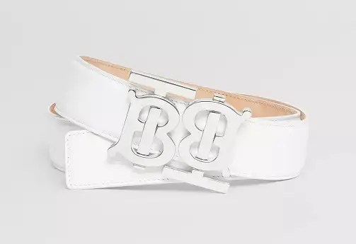 Women's White And Brown Burberry Belt