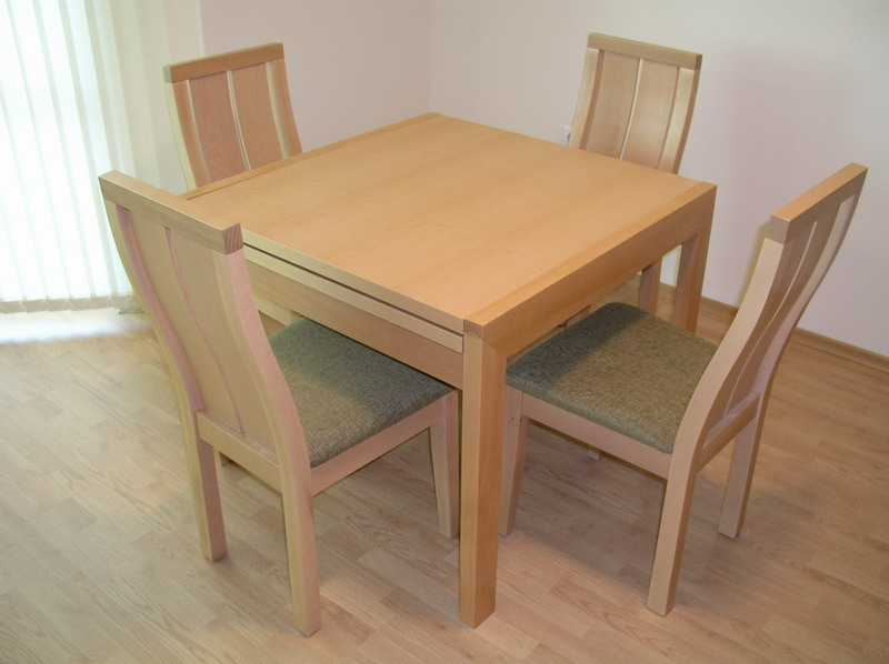 Square Dining Table 90x90cm Extendable (+90cm) And 4