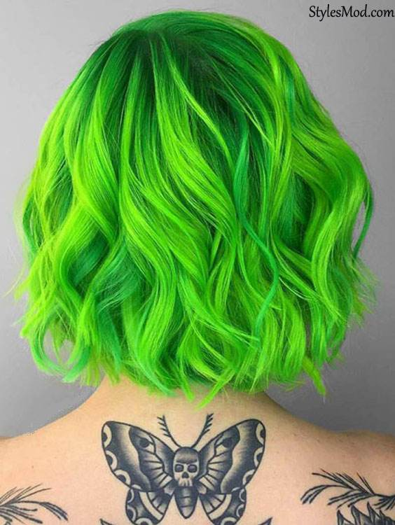 Neon Green Hair Color Trends for 2018
