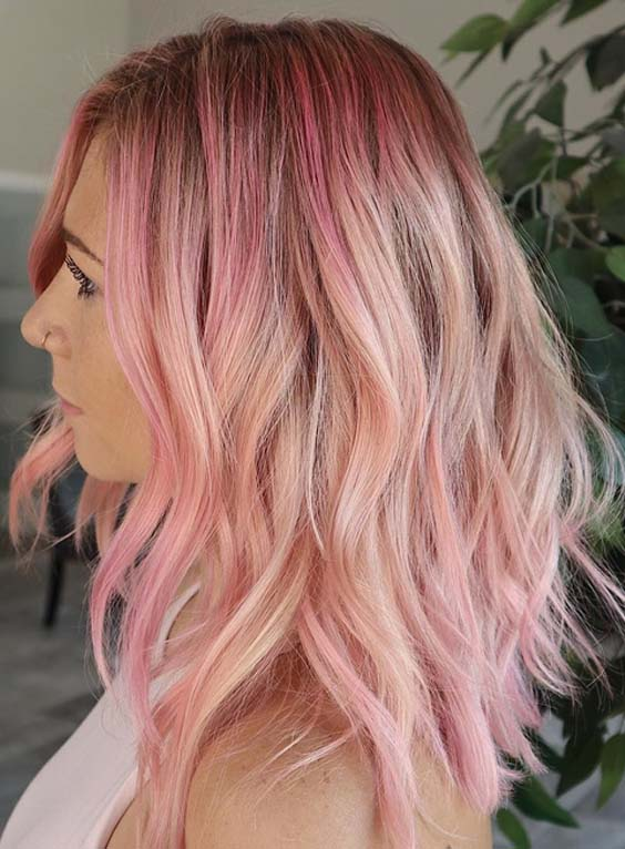 Pretty Pink Textured Short Haircuts for 2018